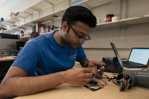 Rohit working on the sensors which measure air quality