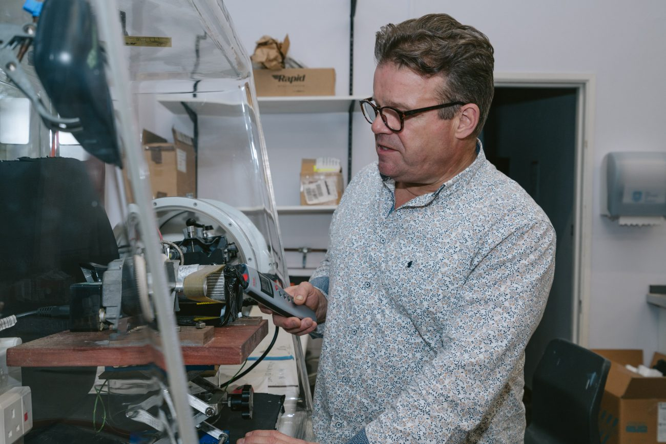 Tony Ryan in his plastics lab