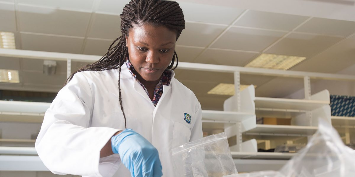 Grantham Scholar Emanga works in the lab, her research will add towards Sustainable Development Goals