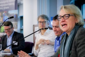 Natalie Bennett and other speakers at our symposium