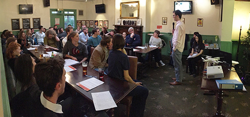 Grantham Scholar James Lambert speaking at Pint of Science.