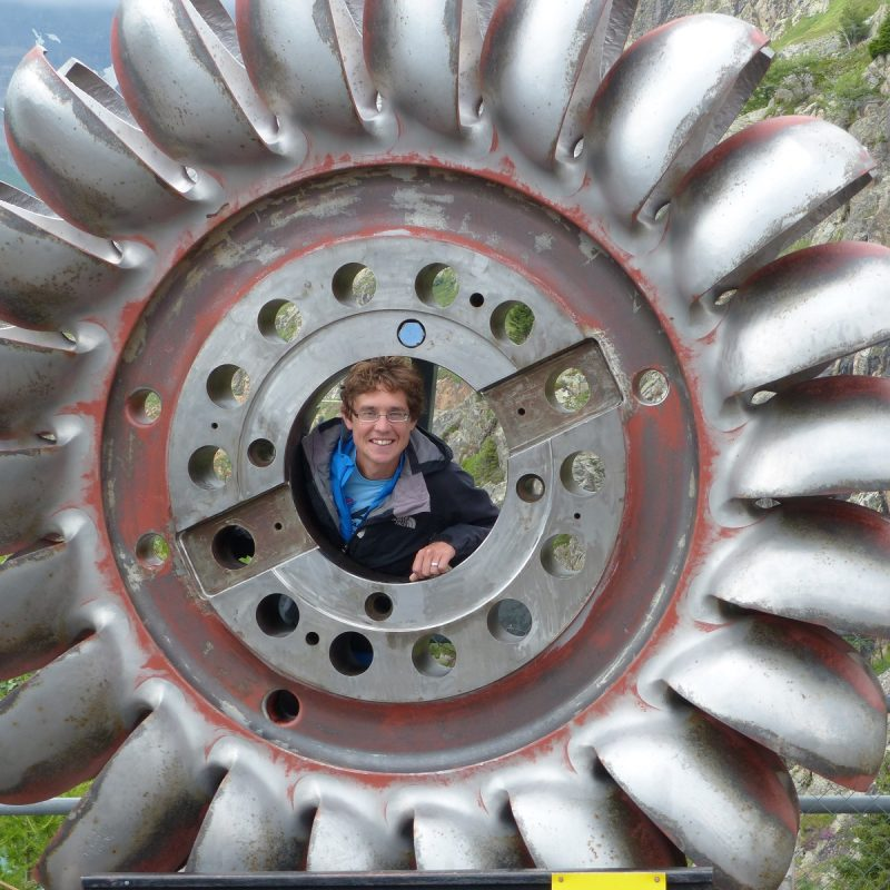Stuart in a turbine