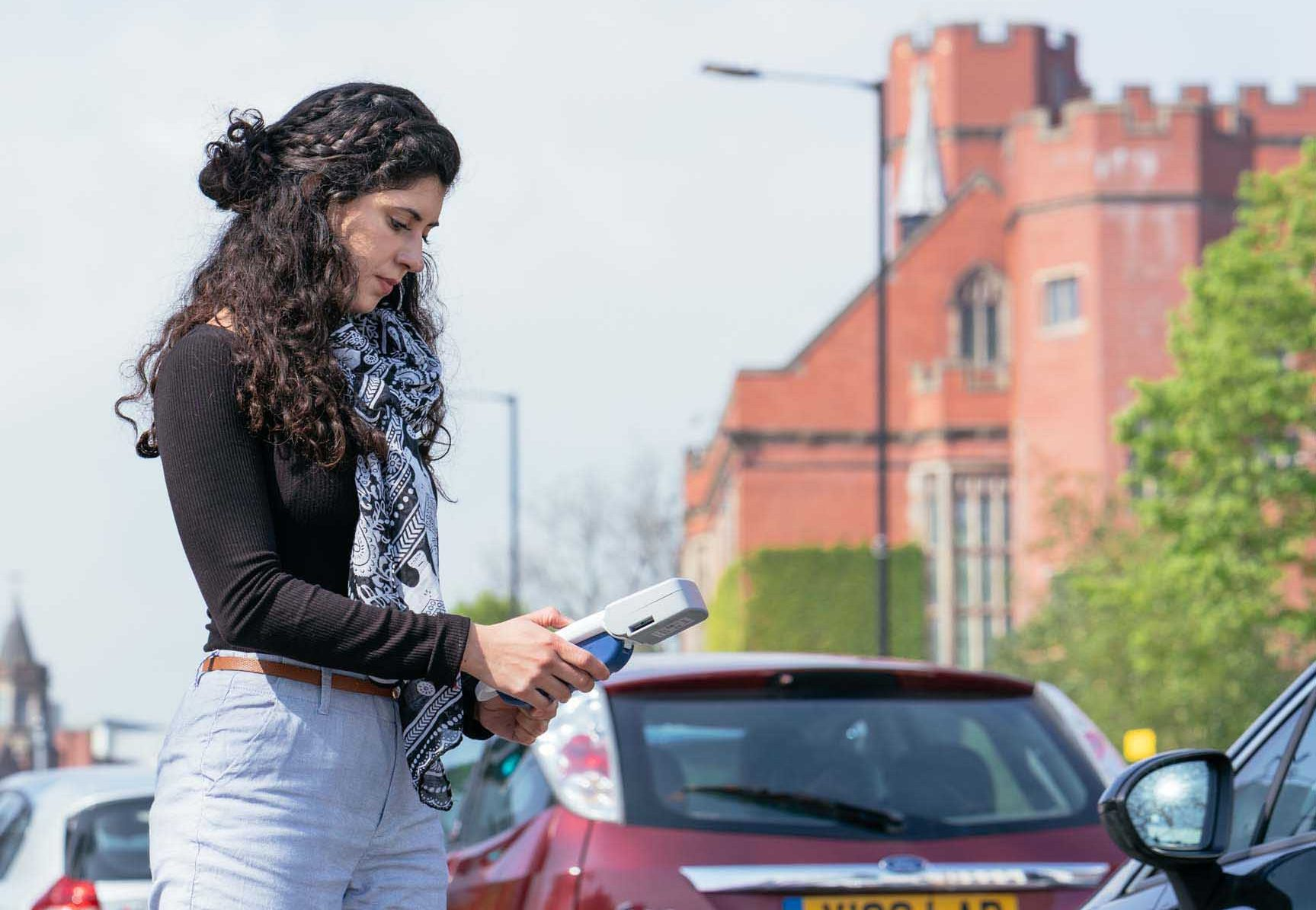 Maria monitoring air quality as part of her project into plants, air quality and health