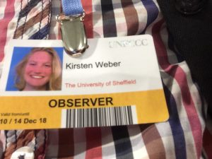 Kristen's badge showing her observer status as COP24