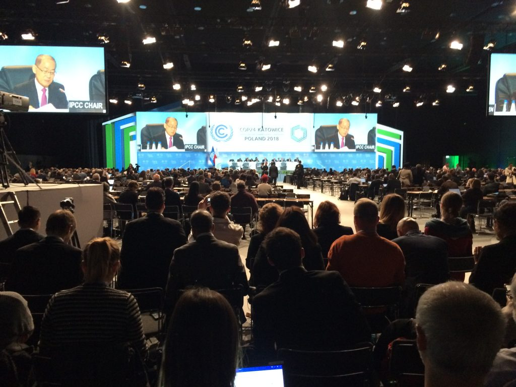 The plenary hall showing COP24 chair Hoesung Lee giving a speech