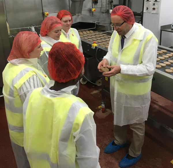 Grantham Scholar learn about the Quorn production line.