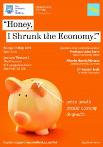 a poster for 'Honey I Shrunk The Economy' event showing speakers names and details