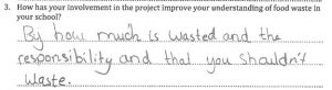 a selection of some of the feedback reporting that this participant leaned how to reduce food waste in schools