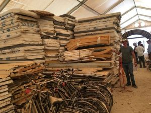 foam mattresses at the Za'atari refugee camp piled high