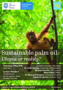 a poster for the event 'Sustainable Palm Oil: Utopia or Reality?' showing speakers names and event details