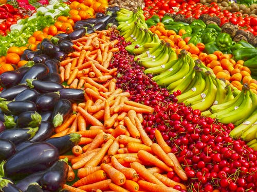 healthy array of fruit and vegetables