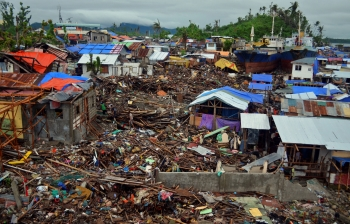 The aftermath of Typhoon Haiyan, one of the strongest tropical cyclones ever recorded.