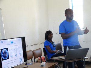 Patience Muchada and Tinashe Mawodza teaching school children about sustainability