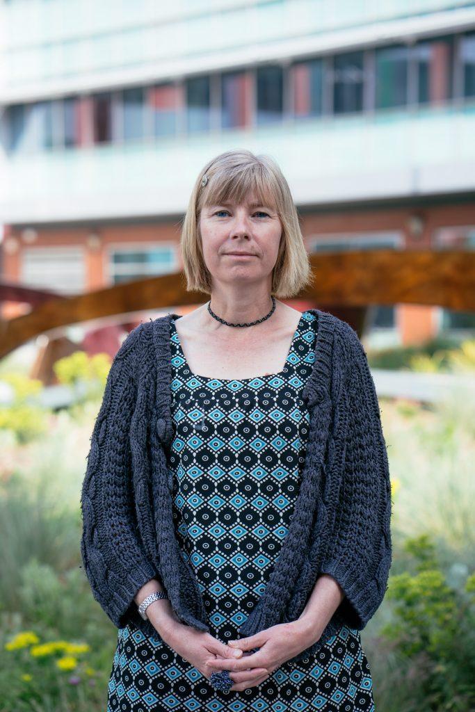 Deborah Beck outside the Grantham Centre