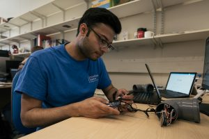 Rohit Chakraborty working on the sensors that help him tackle air pollution in Sheffield