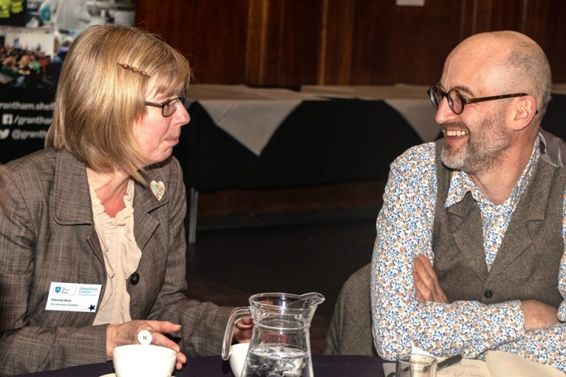 Deborah Beck and Mark Miodonvick at the launch event for the plastics project