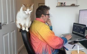 A picture of Oscar working on his research about wildlife trade