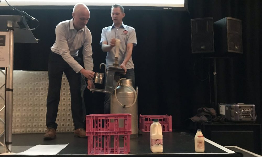 Eddie from Our Cow Molly shows how a metal churn can reduce single-use plastic in cafes