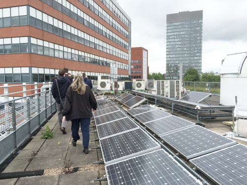 Walking tour guests visit the Solar Farm at the University of Sheffield.